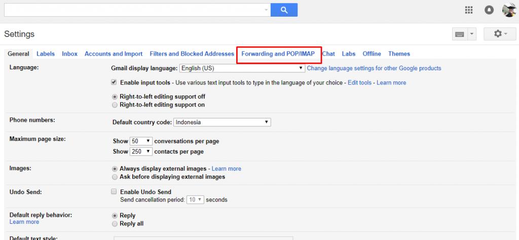 cara setting gmail